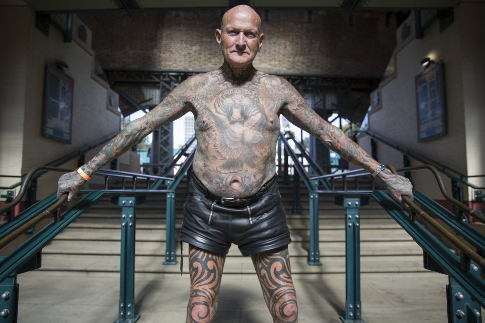 Tattoo enthusiast, Colin Snow, at the London Tattoo convention in Shadwell, East London.  . 23 September 2016.