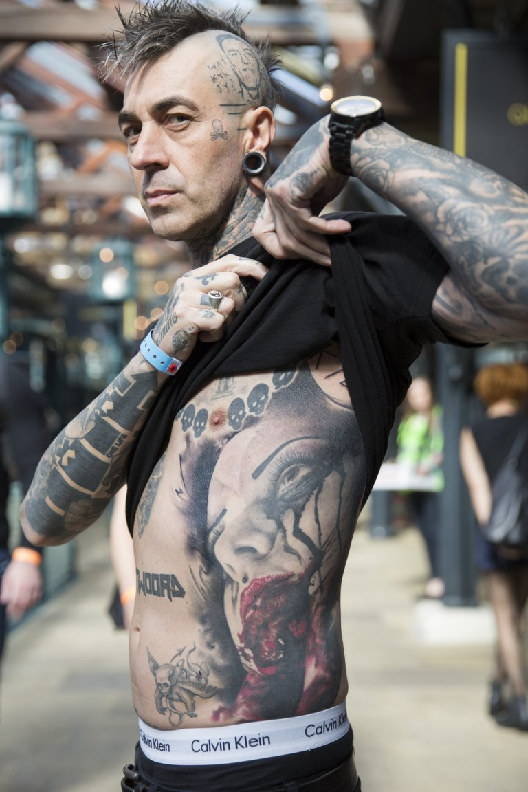 Tattoo enthusiast, Mike Geringer, at the London Tattoo convention in Shadwell, East London.  . 23 September 2016.