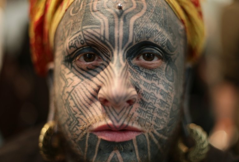 Body modification artist Shiva 108 during the London International Tattoo Convention at Tobacco Dock in London. PRESS ASSOCIATION Photo. Picture date: Friday September 23, 2016. Photo credit should read: Yui Mok/PA Wire