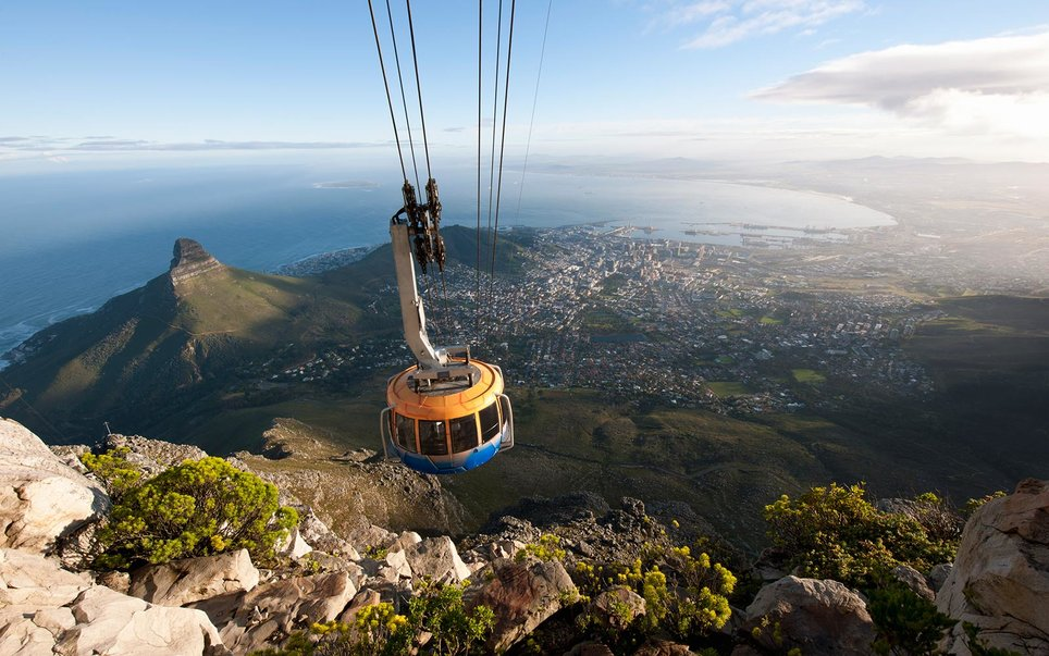 The Table Mountain Aerial Cableway is a cableway to the top of Table Mountain, one of the worlds new 7 wonders of nature in Cape Town, South Africa. It is one of Cape Town's most popular tourist attractions. The upper cable station offers views over Cape Town, Table Bay and Robben Island as well as the Atlantic seaboard.