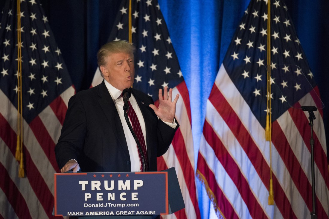 "Donald Trump, 2016 Republican presidential nominee, speaks during a campaign event at Youngstown State University in Youngstown, Ohio, U.S., on Monday, Aug. 15, 2016. Trump's plan to prevent terrorist attacks on American soil includes a screening test meant to allow entrance only to immigrants ""who we expect to flourish in our country."" Photographer: Ty Wright/Bloomberg via Getty Images"