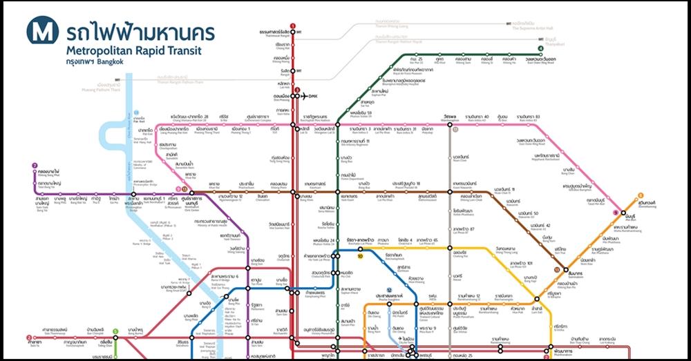 ���มแผนผังรถไฟฟ้า ���บับสมบูรณ์ ���มื่อเสร็จครบทุกเส้นจะผ่าน
