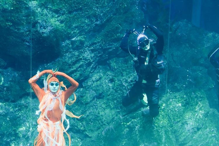 พี่ชายที่แสนดี! 'เฮียบอย' ดำน้ำโผล่เซอร์ไพรส์ 'วันใหม่' ในโชว์ใต้น้ำซีไลฟ์ฯ Tales of the Sea
